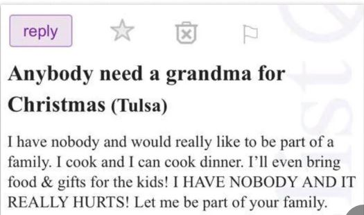 A Lonely Plea: 'Anybody Need a Grandma for Christmas?'
