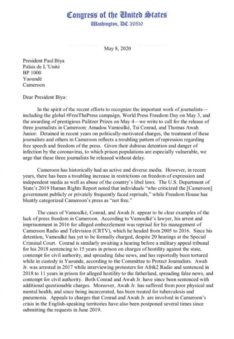Letter from US congress member and senators to president Paul Biya 1